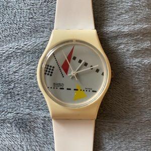 "1984 Vintage ""White Memphis"" Swatch Watch"
